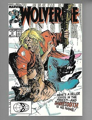 WOLVERINE Vol.2 #10 1989 vs. SABRETOOTH 1st appearance SILVER FOX NM 9.4.