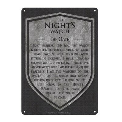 Genuine Game of Thrones The Nights Watch Sm A5 Steel Sign Tin Wall Door Plaque