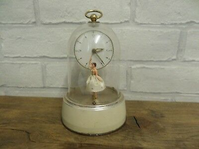 VINTAGE 1950s H.A.C. MUSICAL BALLET DANCER  CLOCK IN WORKING ORDER