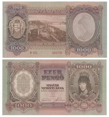 1.ooo Pengo Hungarian banknote issued in 24.02.1943 F aunc