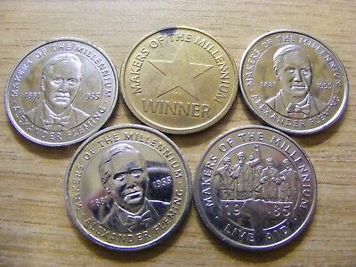 Collection of 5 Makers of the Millennium Tokens - 27mm Dia