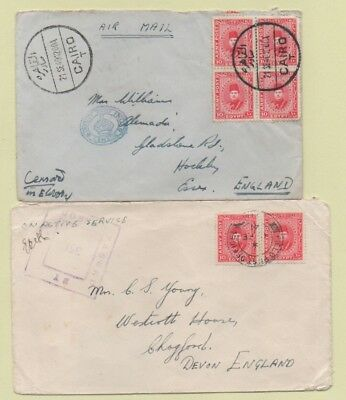 Egypt 1940's Two CENSOR Covers to England Including DEPUTY CHIEF FIELD CENSOR