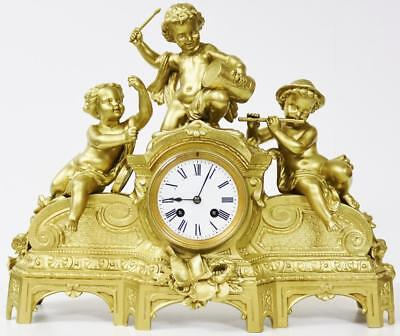 Antique French 8 Day Cherubs Playing Musical Instruments Gilt Metal Mantle Clock