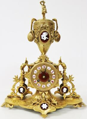 Antique C1860 French 8 Day Gilt Metal With Red Enamel & Wedgwood Mantle Clock
