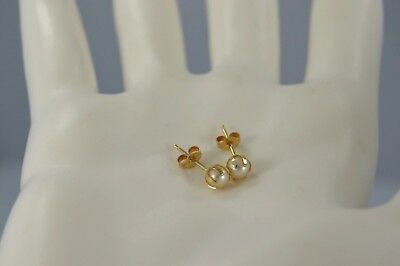 Exquisite Vintage 14K Yellow Gold Fine Pearl Stud Earrings  #M
