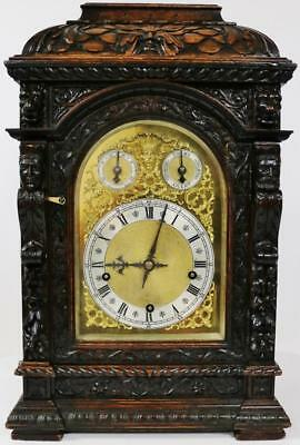 Rare Antique W&H Profusely Carved Oak Triple Train Musical 5 Gong Bracket Clock
