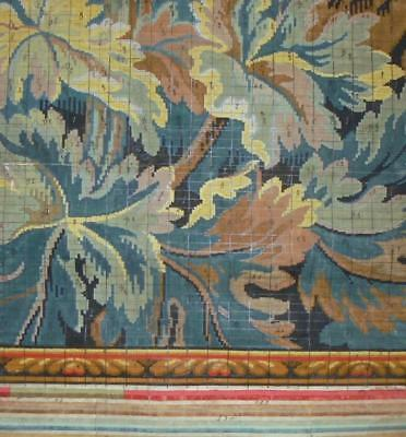 BEAUTIFUL ANTIQUE HAND PAINTED FRENCH FABRIC DESIGN CARTOON c1890s