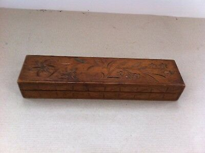 LOVELY DECORATIVE VINTAGE CARVED WOODEN CHILDS PENCIL  BOX 9 by 2.25 inches