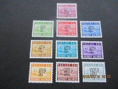 Guernsey 1971 Postage Due Stamps Set Of 10  U/mint Free Postage