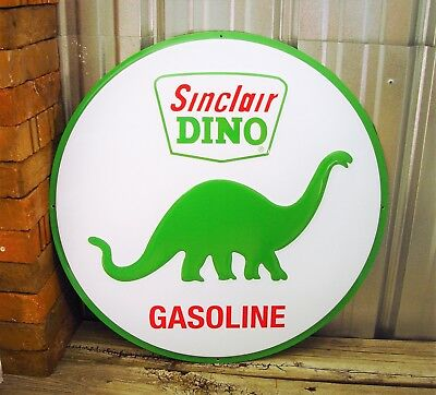 "Sinclair Dino Gasoline Large Embossed Metal Tin Sign 24"" Vintage Garage Dinosaur"