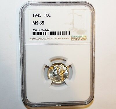 1945 10C Mercury Silver Dime-Coin Graded & Certified by NGC as Mint State MS 65