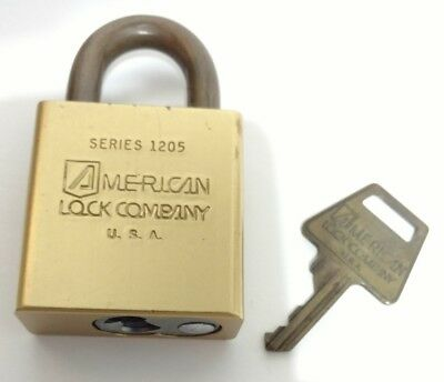 Vintage AMERICAN LOCK COMPANY Series 1205 LOCK with KEY Used