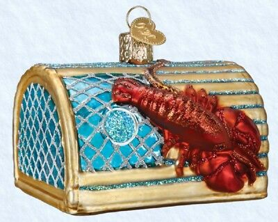 Old World Christmas Lobster Trap Glass Ornament 44104 Decoration FREE BOX New