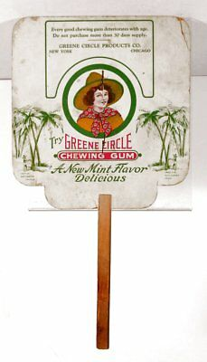 ca1905 GREENE CIRCLE CHEWING GUM ADVERTISING HAND FAN - GIRL SCOUT ILLUSTRATION