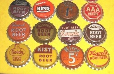 (12) Diff Unused NOS Hires/Crush/Goody/Elwino Root Beer Cork  Soda Bottle Caps