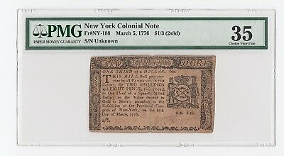 New York Colonial Note Fr#NY-188 March 5, 1776 $1/3 (2s8d) (PMG) 35 Choice V.F.