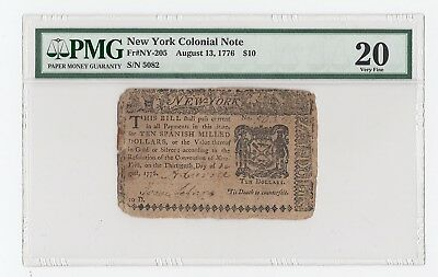 New York Colonial Note Fr#NY-205 August 13, 1776 $10 (PMG) 20 Very Fine