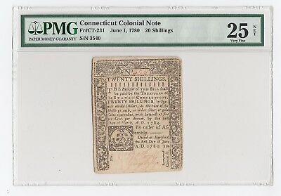 Connecticut Colonial Note Fr#CT-231 June 1, 1780 20 Shillings (PMG) 25 Very Fine