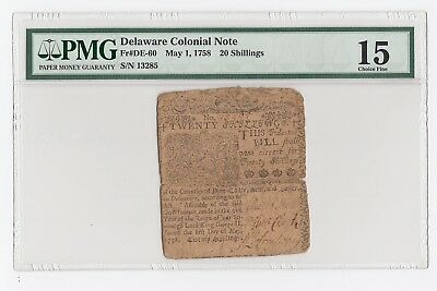 Delaware Colonial Note Fr#DE-60 May 1 1758 20 S PMG 15 CF Print by Ben Franklin