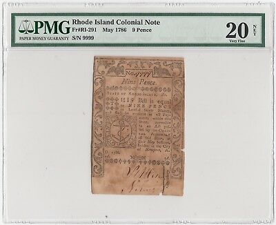 Rhode Island Colonial Note Fr#RI-291 May 1786 9 Pence (PMG) 20 Very Fine (A3851)