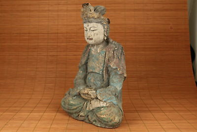 Rare Chinese Old Big Hand Carved Buddha Kwan-yin Statue Figure