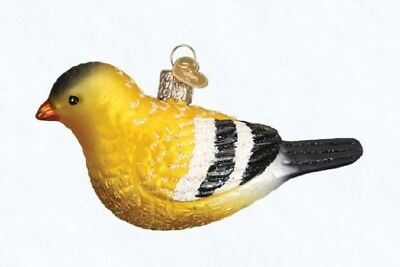 Old World Christmas American Goldfinch Bird Glass Ornament 16111 FREE BOX New