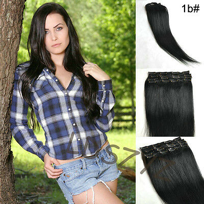 Full Head Clip in Remy Hair Extensions 100% Human Hair #1B natrual black 70-200g