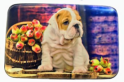 Bulldog Puppy Flowers RFID Secure Theft Protection Credit Card Armored Wallet