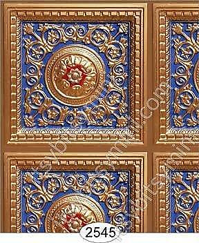 DOLLHOUSE WALLPAPER 1:12 SCALE-ROSETTE PANEL PAPER GOLD WITH BLUE 2575