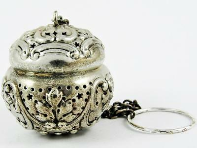 Antique 1898 Gorham #b380 Acanthus Sterling Silver Tea Ball Strainer Infuser