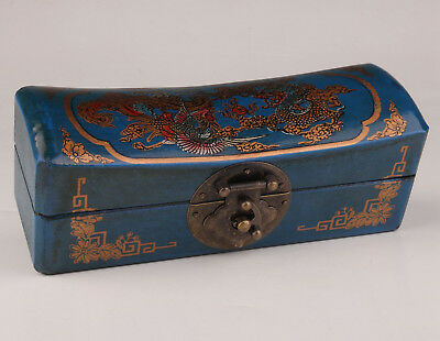 Blue Leather Jewelry Box Dragon Phoenix Old Wedding Gift Collection