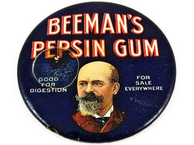 Antique Beeman's Pepsin Gum Advertising Celluloid Pocket Mirror
