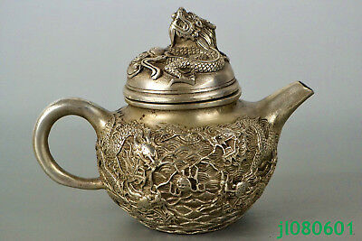 Collectible Old HANDWORK tibet Silver Statue noble dragon relief chinese Teapot
