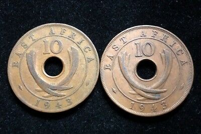 Two 1943 East Africa Large 10 Cents Coins Lot MH63