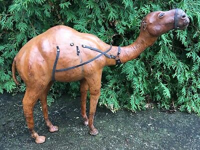 LARGEAntique Moroccan Leather Wrapped Camel Sculpture Genuine Camel Hide Leather