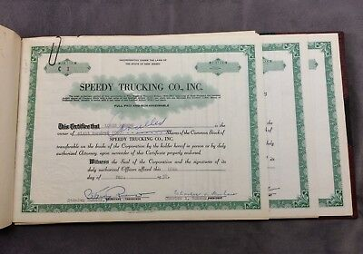 Speedy Trucking Company Stock Certificates New Jersey 1958-59 Used & Unused