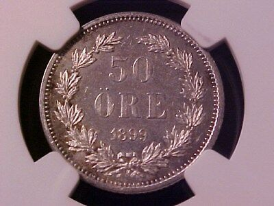 Sweden 50 Ore Silver  1899-Eb Ms-62 Ngc Nice Toned