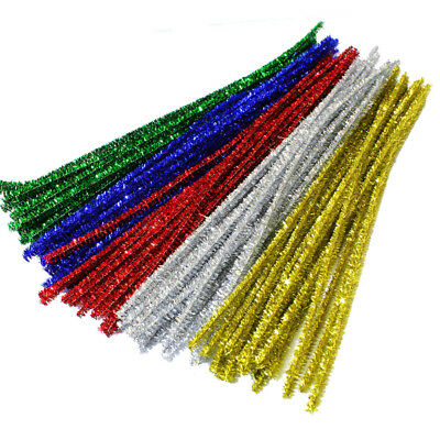 100 Glitter Pipe Cleaners Tinsel Christmas Craft Stems Size 300 mm x 6 mm