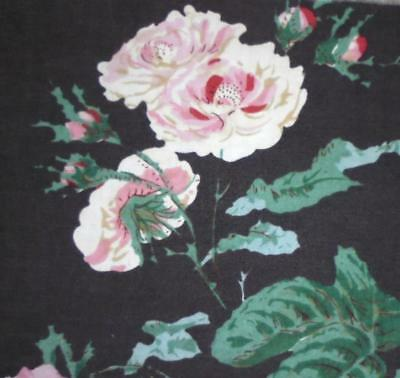BEAUTIFUL FRAGMENT c1930s CENTURY FRENCH COTTON PRINT, ROSES, PROJECTS,REF 2.