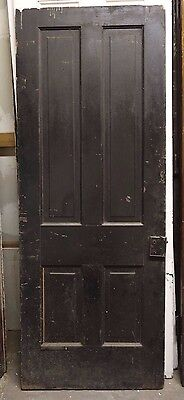 "Antique Architectural Salvage Door 30"" x 77"" black wood panel historic church"