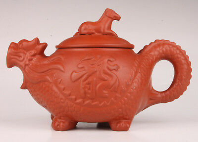 Red Clay Hand-Carved Dragon Teapot Home Furnishings Vintage Collectable