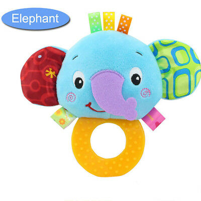 Baby Rattles Hand Bell Toddler Infant Rings Interactive Cute Animal Plush Toy C4