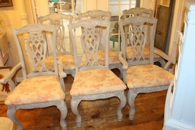 Antique Dining Room Chairs Painted French Linen Red Gray Toile Cushions Set of 6