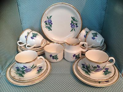 Vintage Irish Carrigaline Killarney Pottery Thistle 21 piece tea set. Boxed.