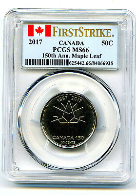 2017 Canada 50 Cent Pcgs Ms66 First Strike 150Th Anniv Maple Leaf Half Dollar