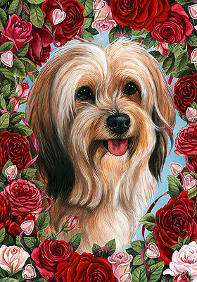 Large Indoor/Outdoor Roses Flag - Sable Tibetan Terrier 19480