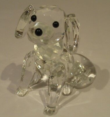 Galway Crystal Sitting Dog Figurine #IC18, Excellent Condition