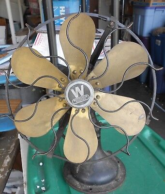 Antique Westinghouse Oscillating Electric Fan Brass Blades 12 inch No 164848G