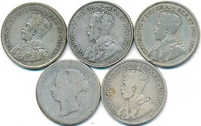 5 Better Date Twenty-Five 25 Cents Canada 1889, 1915, 1921, 1927