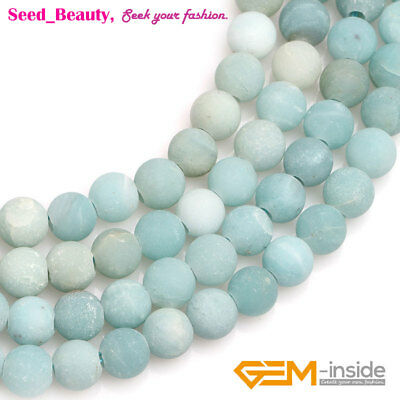 Natural Frosted Round Blue Amazonite Stone Big Hole Beads For Jewelry Making 15""